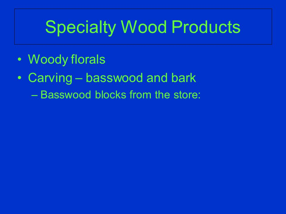 Specialty Wood Products Woody florals Carving – basswood and bark –Basswood blocks from the store:
