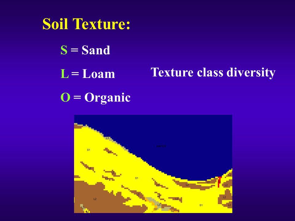 Soil Texture: S = Sand L = Loam O = Organic Texture class diversity