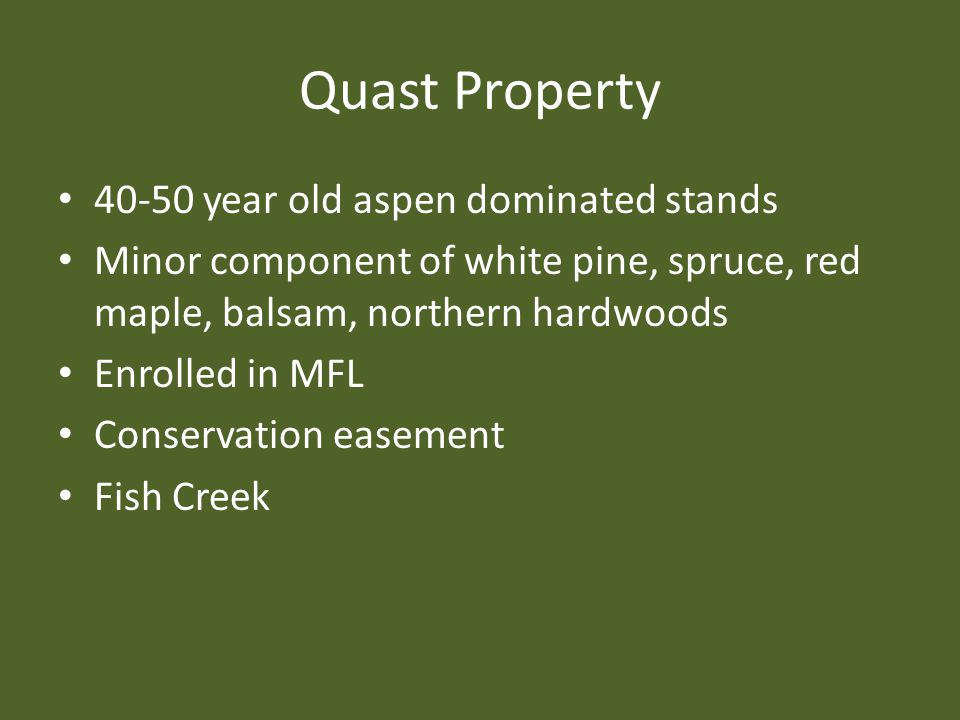 Quast Property 40-50 year old aspen dominated stands Minor component of white pine, spruce, red maple, balsam, northern hardwoods Enrolled in MFL Cons