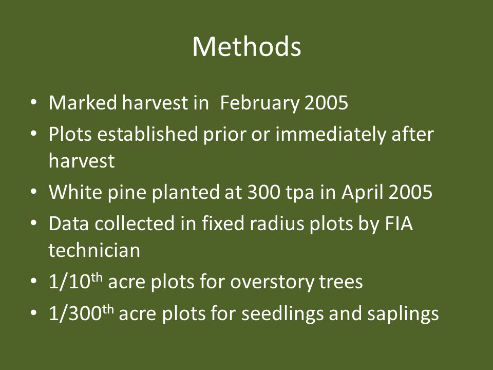 Methods Marked harvest in February 2005 Plots established prior or immediately after harvest White pine planted at 300 tpa in April 2005 Data collecte