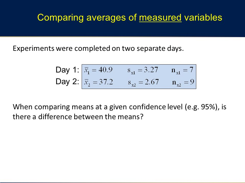 Experiments were completed on two separate days. When comparing means at a given confidence level (e.g. 95%), is there a difference between the means?