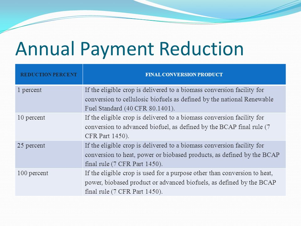 Annual Payment Reduction REDUCTION PERCENTFINAL CONVERSION PRODUCT 1 percent If the eligible crop is delivered to a biomass conversion facility for conversion to cellulosic biofuels as defined by the national Renewable Fuel Standard (40 CFR 80.1401).