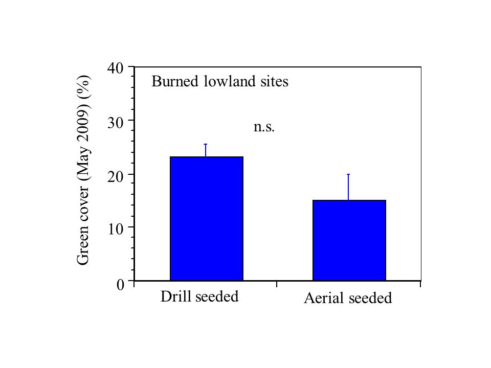 Drill seeded Aerial seeded Burned lowland sites Green cover (May 2009) (%) 40 30 20 0 10 n.s.