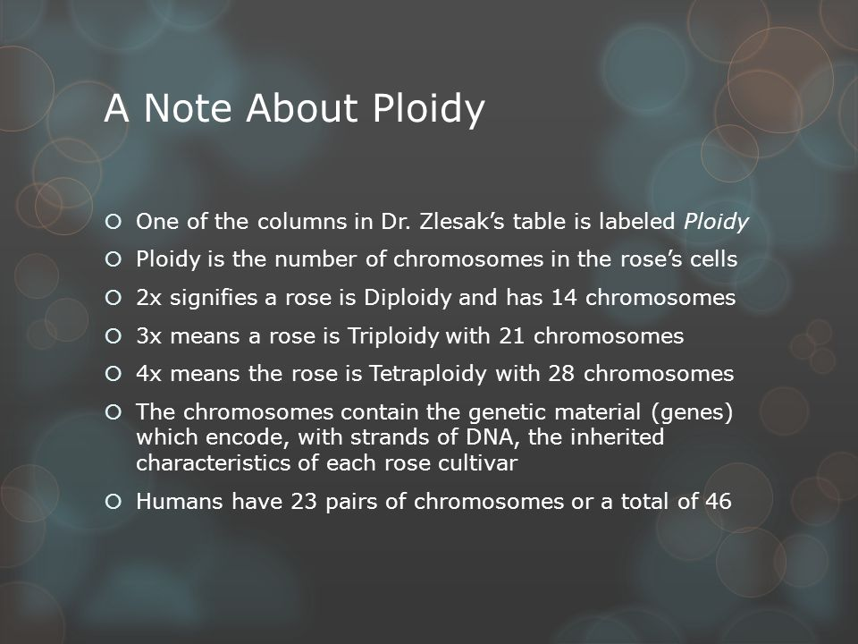 A Note About Ploidy  One of the columns in Dr.