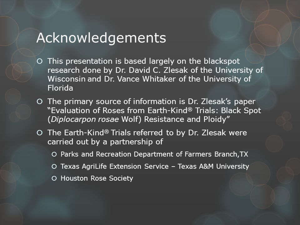 Acknowledgements  This presentation is based largely on the blackspot research done by Dr.