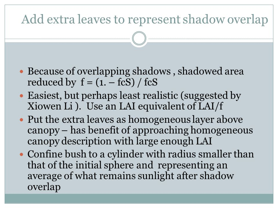 Add extra leaves to represent shadow overlap Because of overlapping shadows, shadowed area reduced by f = (1.