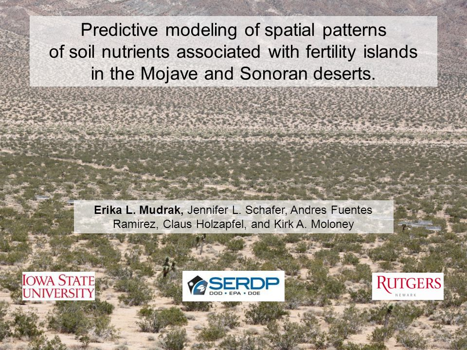 Predictive modeling of spatial patterns of soil nutrients associated with fertility islands in the Mojave and Sonoran deserts.