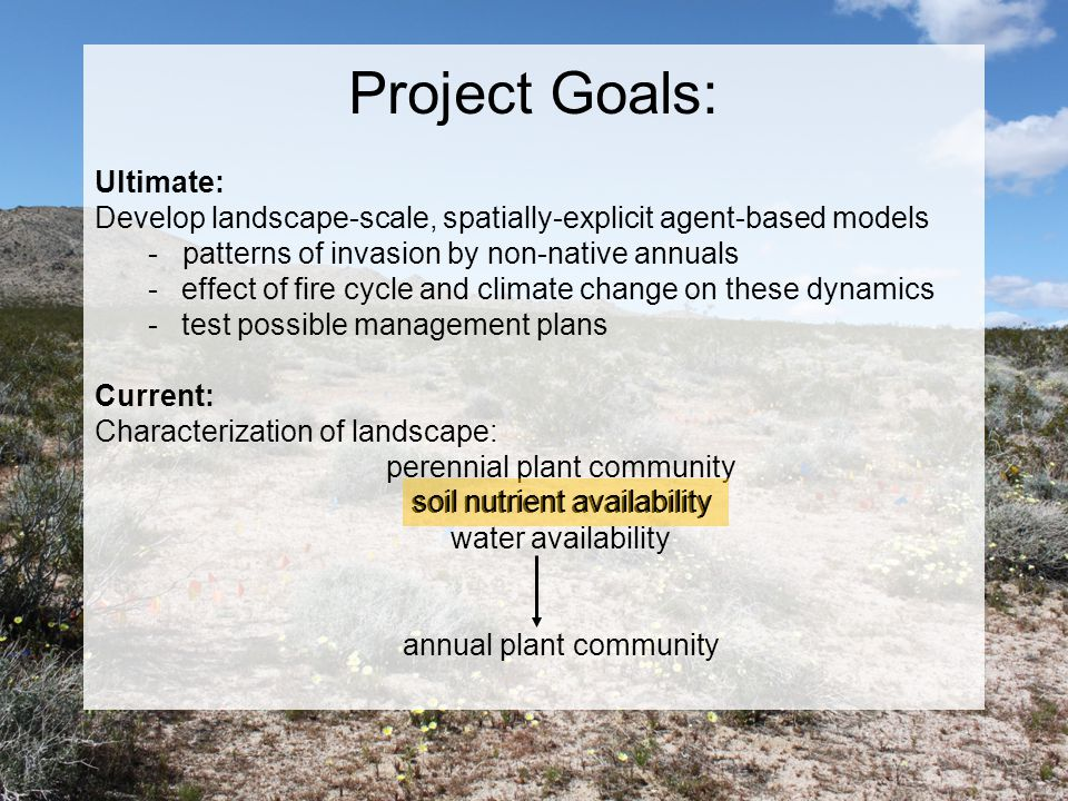 Project Goals: Ultimate: Develop landscape-scale, spatially-explicit agent-based models - patterns of invasion by non-native annuals -effect of fire cycle and climate change on these dynamics -test possible management plans Current: Characterization of landscape: perennial plant community soil nutrient availability water availability annual plant community soil nutrient availability