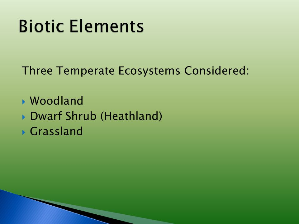 Three Temperate Ecosystems Considered:  Woodland  Dwarf Shrub (Heathland)  Grassland