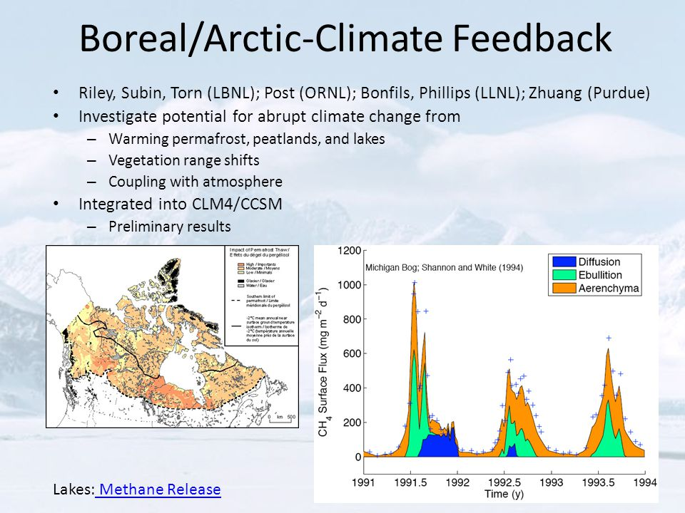 Boreal/Arctic-Climate Feedback Riley, Subin, Torn (LBNL); Post (ORNL); Bonfils, Phillips (LLNL); Zhuang (Purdue) Investigate potential for abrupt climate change from – Warming permafrost, peatlands, and lakes – Vegetation range shifts – Coupling with atmosphere Integrated into CLM4/CCSM – Preliminary results Lakes: Methane Release Methane Release