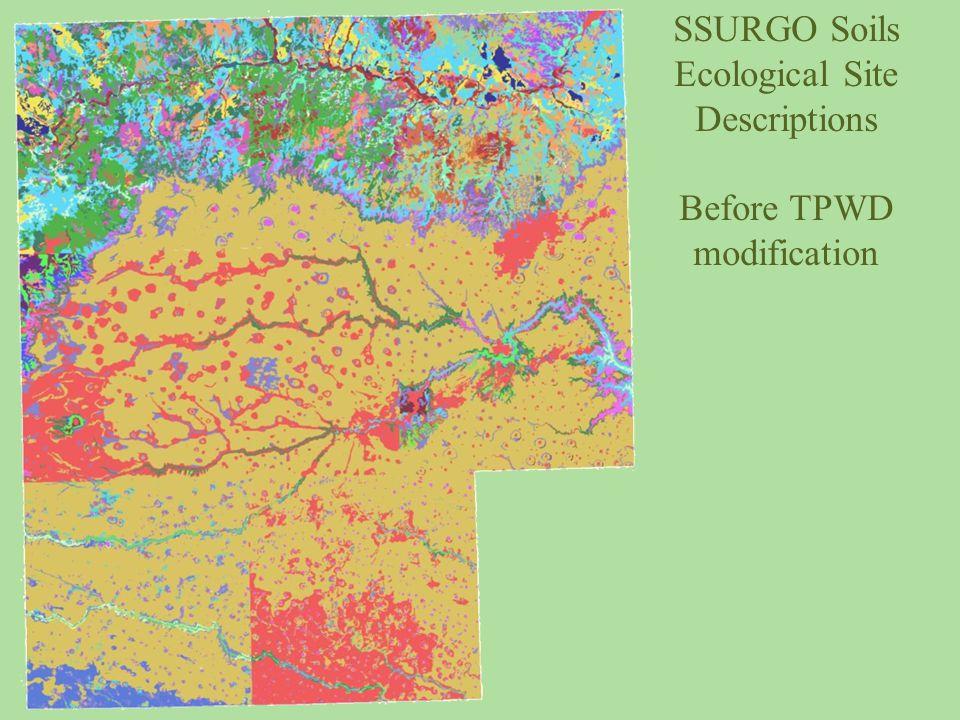 SSURGO Soils Ecological Site Descriptions Before TPWD modification