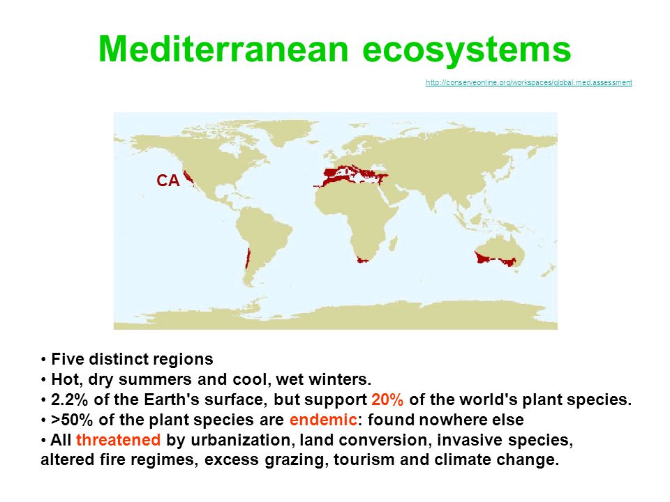 http://conserveonline.org/workspaces/global.med.assessment Mediterranean ecosystems Five distinct regions Hot, dry summers and cool, wet winters.
