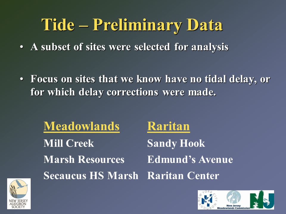 Tide – Preliminary Data A subset of sites were selected for analysisA subset of sites were selected for analysis Focus on sites that we know have no t