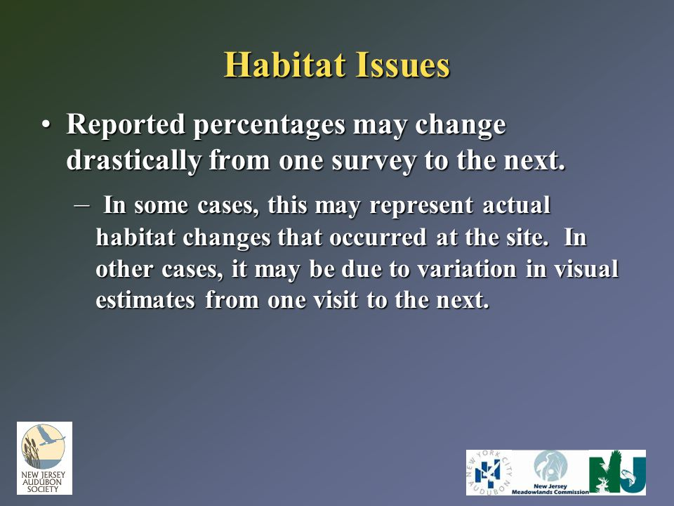 Habitat Issues Reported percentages may change drastically from one survey to the next.Reported percentages may change drastically from one survey to
