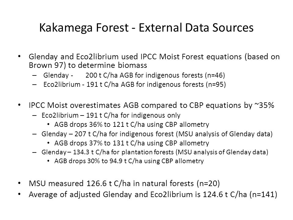 Kakamega Forest - External Data Sources Glenday and Eco2librium used IPCC Moist Forest equations (based on Brown 97) to determine biomass – Glenday -