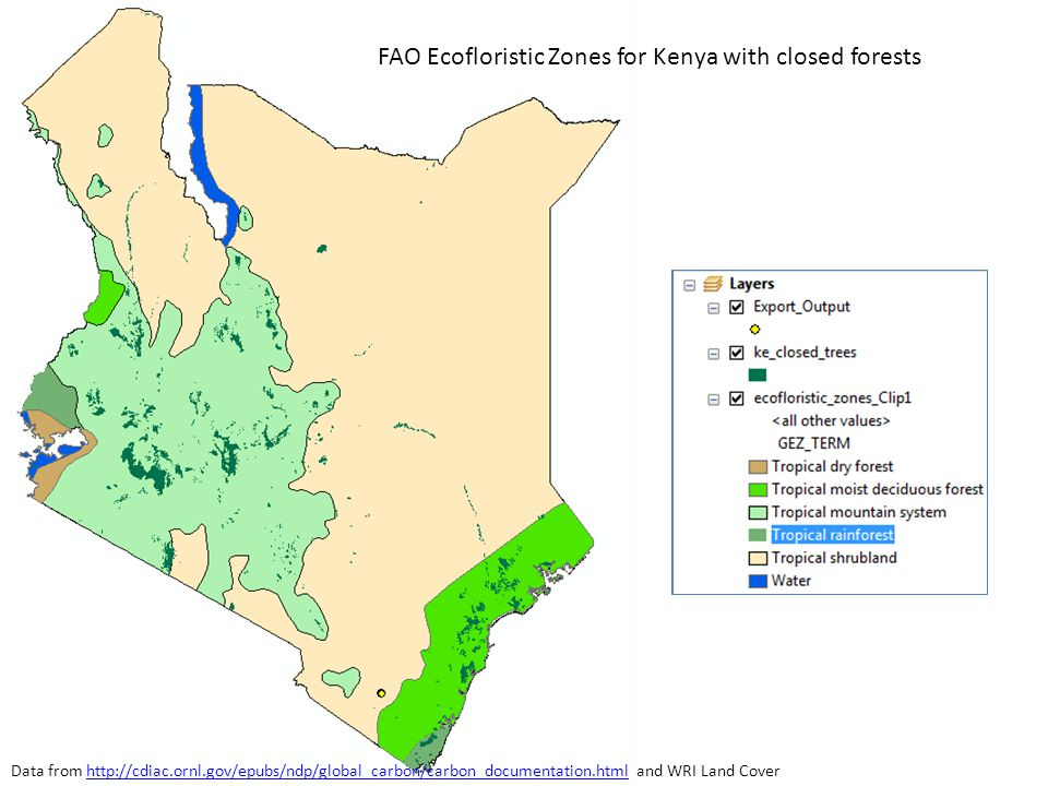 FAO Ecofloristic Zones for Kenya with closed forests Data from http://cdiac.ornl.gov/epubs/ndp/global_carbon/carbon_documentation.html and WRI Land Coverhttp://cdiac.ornl.gov/epubs/ndp/global_carbon/carbon_documentation.html