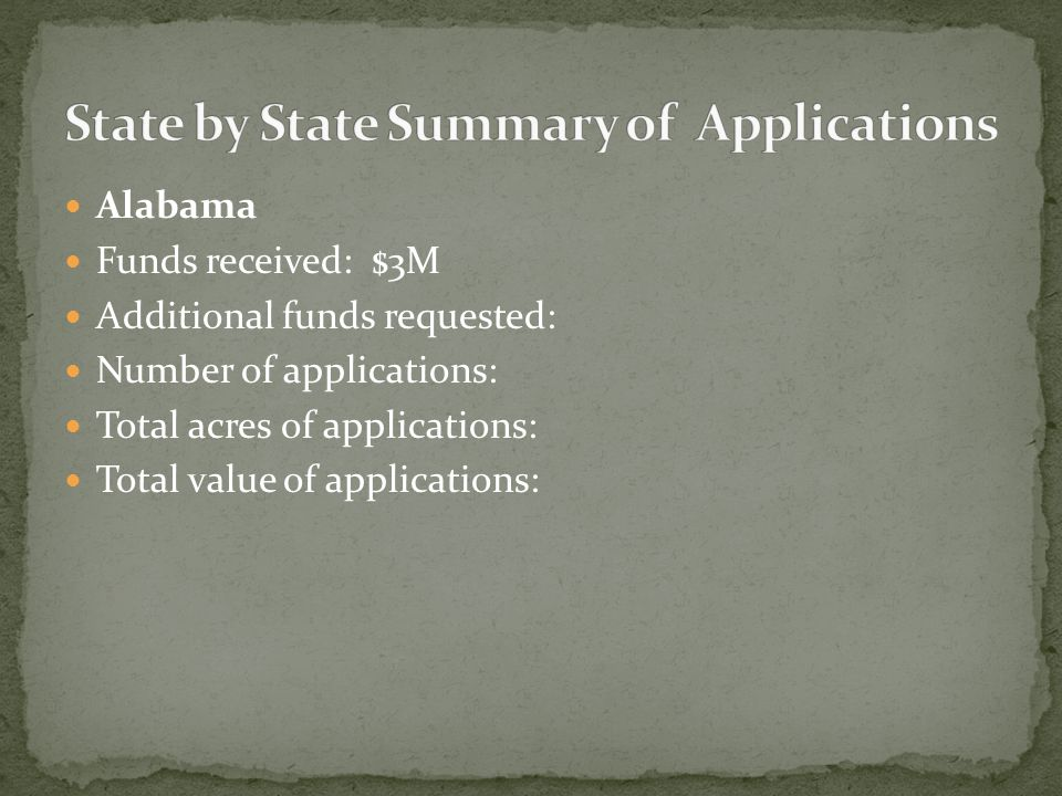 Alabama Funds received: $3M Additional funds requested: Number of applications: Total acres of applications: Total value of applications:
