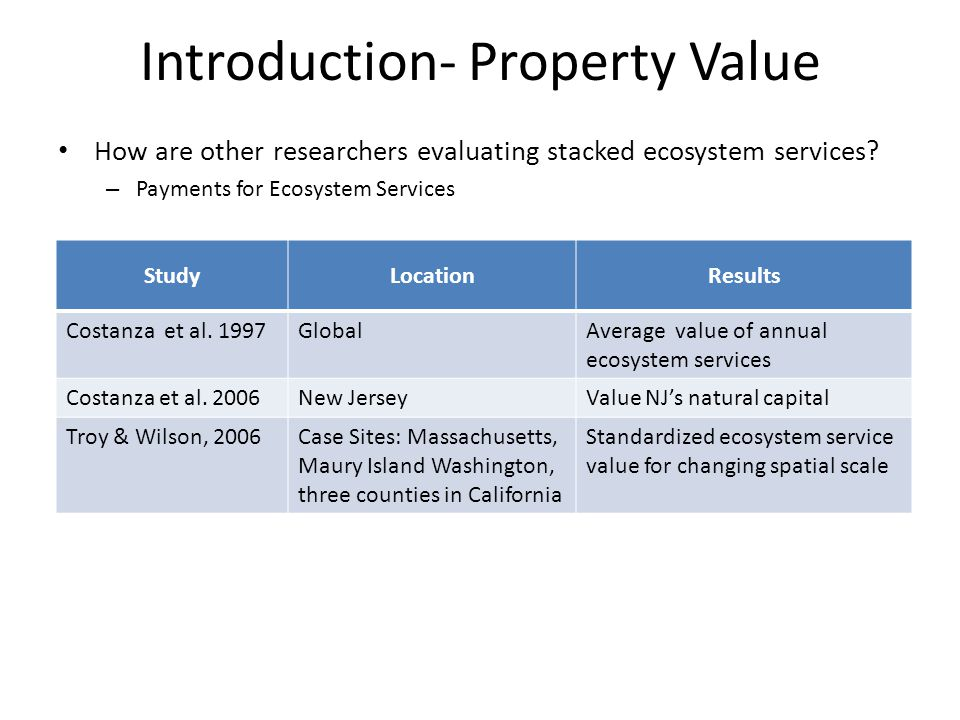 Introduction- Property Value How are we evaluating stacked ecosystem services.