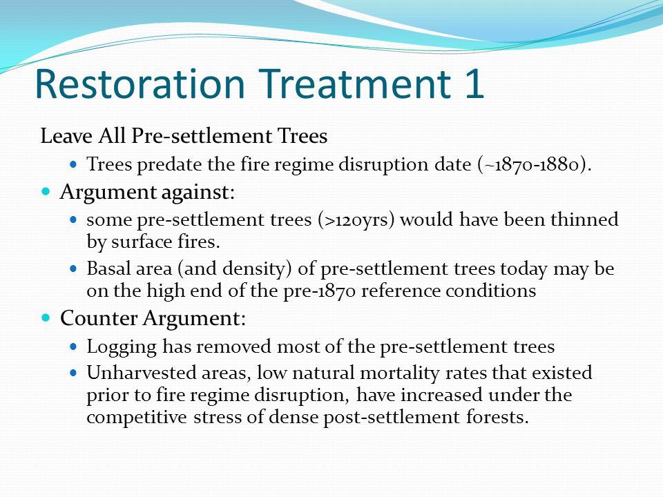 Restoration Treatment 1 Leave All Pre-settlement Trees Trees predate the fire regime disruption date (~1870-1880). Argument against: some pre-settleme