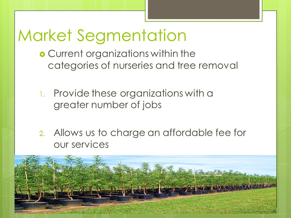 Market Segmentation  Current organizations within the categories of nurseries and tree removal 1.