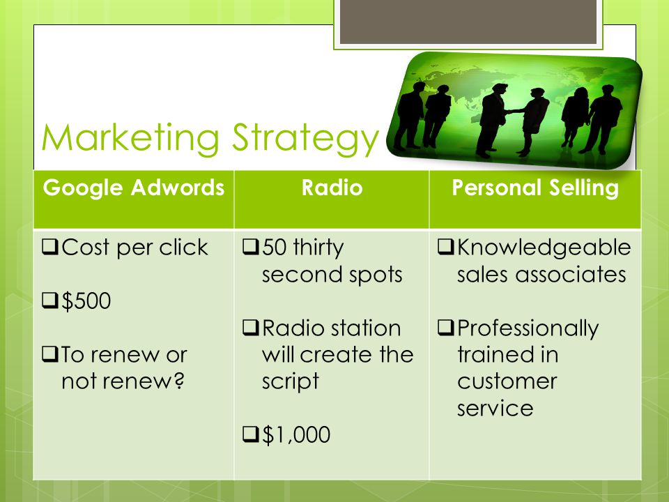 Marketing Strategy Google AdwordsRadioPersonal Selling  Cost per click  $500  To renew or not renew.