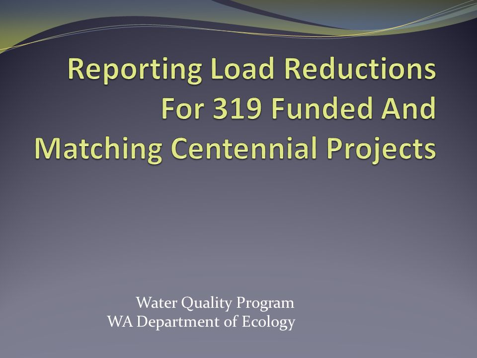 Water Quality Program WA Department of Ecology