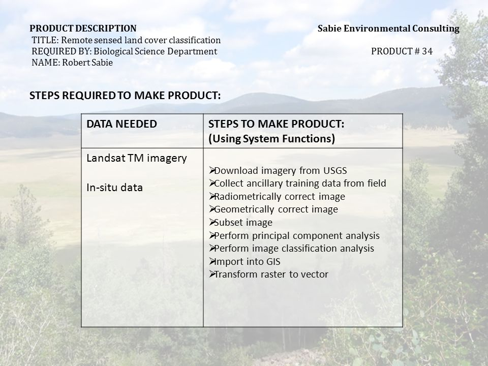 PRODUCT DESCRIPTION Sabie Environmental Consulting TITLE: Remote sensed land cover classification REQUIRED BY: Biological Science DepartmentPRODUCT # 34 NAME: Robert Sabie DOCUMENT Scanned Document Display # 34DATA SET NAME: VC_LS_Classification Document Title: Remote Sensed Land Cover classification # Pages per Retrieved DocumentTypical 10 Maximum 30 Search Keys (all) Vegetation, land coverage, remote sensing, classification, categorization, fire management, Landsat TM, GIS Spatial: 30 x 30 pixels Attribute: Spruce-fir forest and woodland, Forest meadow, Mixed conifer forest, Blue spruce fringe forest, Aspen forest and woodland, Ponderosa pine forest, Gambel oak-mixed montane shrub land, Upper montane grassland, Lower montane grassland, Wet meadow, Wetland, Montane riparian shrub land, Sparsely vegetated rock outcrop, Felsenmeer rock field, Roads-disturbed ground, Open water, Post-fire bare ground Data Elements (Required to be seen)