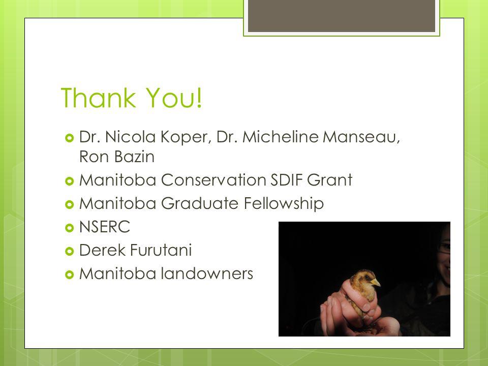 Thank You.  Dr. Nicola Koper, Dr.