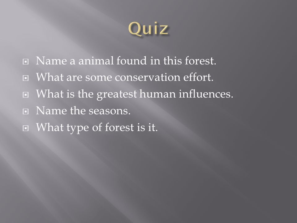  Name a animal found in this forest.  What are some conservation effort.