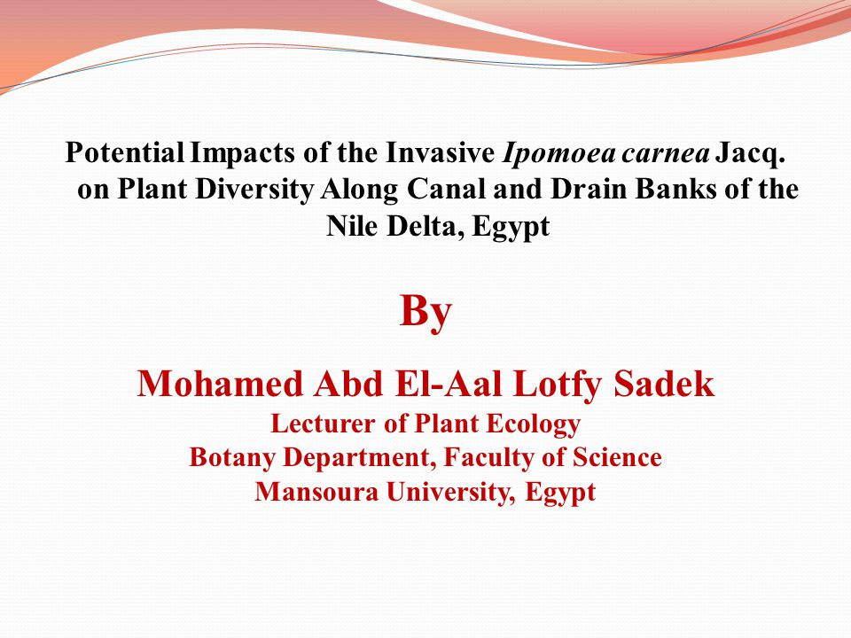 Potential Impacts of the Invasive Ipomoea carnea Jacq. on Plant Diversity Along Canal and Drain Banks of the Nile Delta, Egypt By Mohamed Abd El-Aal L