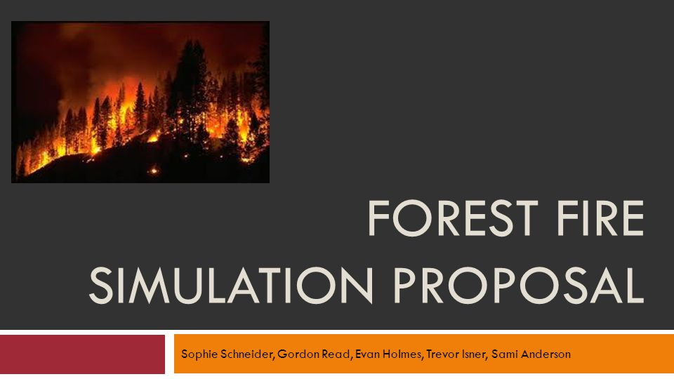 FOREST FIRE SIMULATION PROPOSAL Sophie Schneider, Gordon Read, Evan Holmes, Trevor Isner, Sami Anderson