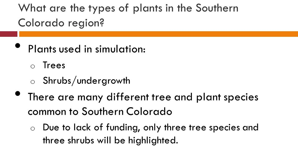 What are the types of plants in the Southern Colorado region.