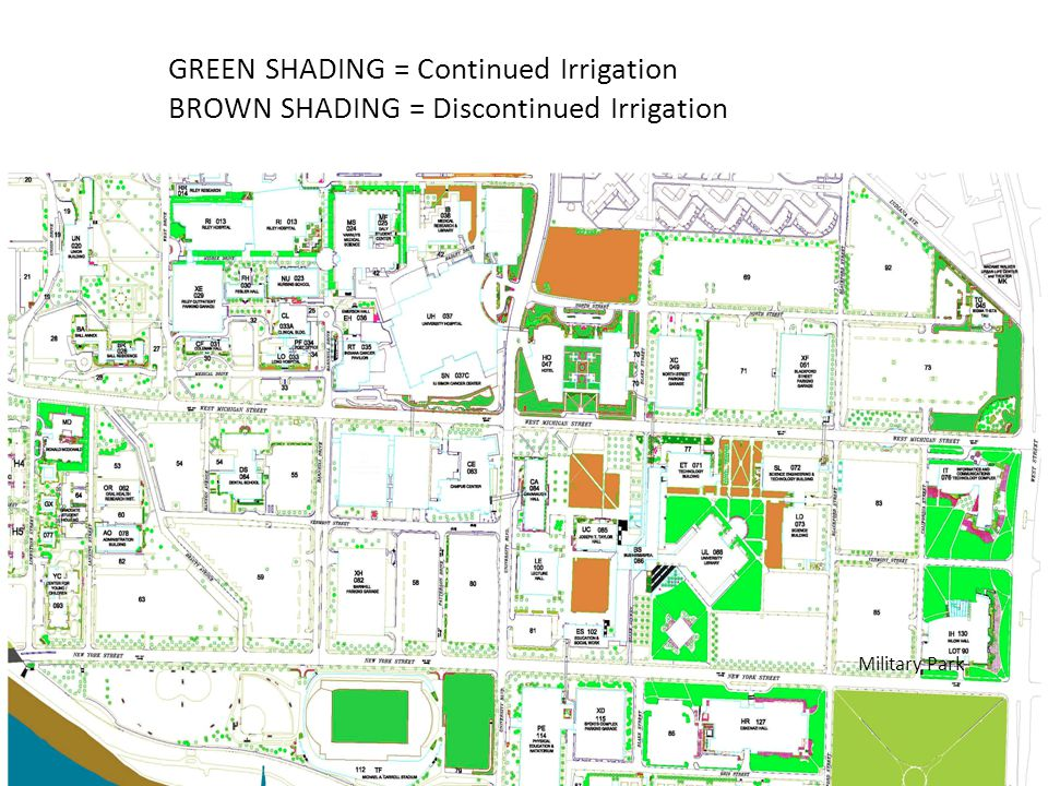 Military Park GREEN SHADING = Continued Irrigation BROWN SHADING = Discontinued Irrigation