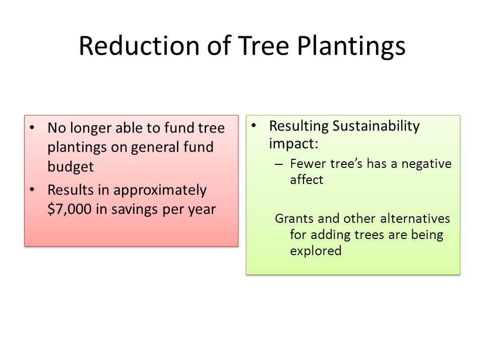 Reduction of Tree Plantings No longer able to fund tree plantings on general fund budget Results in approximately $7,000 in savings per year No longer able to fund tree plantings on general fund budget Results in approximately $7,000 in savings per year Resulting Sustainability impact: – Fewer tree's has a negative affect Grants and other alternatives for adding trees are being explored Resulting Sustainability impact: – Fewer tree's has a negative affect Grants and other alternatives for adding trees are being explored