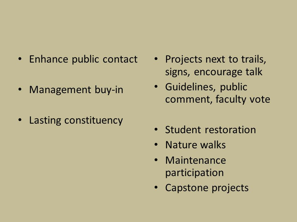Enhance public contact Management buy-in Lasting constituency Projects next to trails, signs, encourage talk Guidelines, public comment, faculty vote Student restoration Nature walks Maintenance participation Capstone projects
