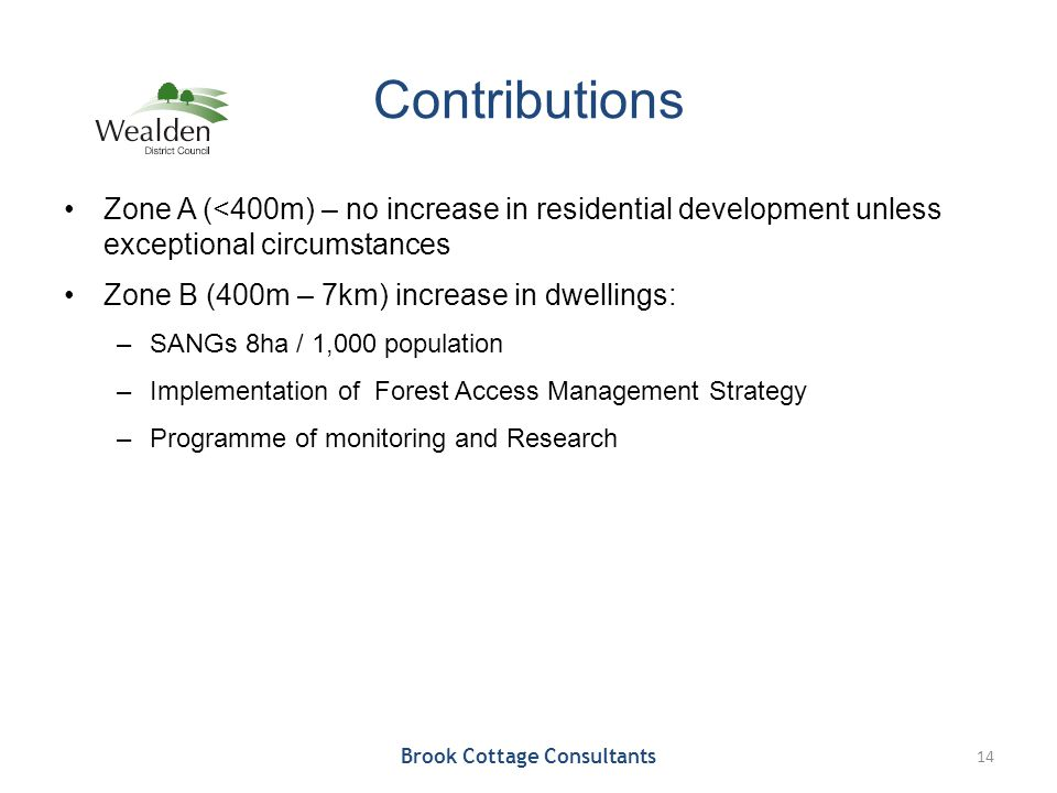 Contributions Zone A (<400m) – no increase in residential development unless exceptional circumstances Zone B (400m – 7km) increase in dwellings: –SAN