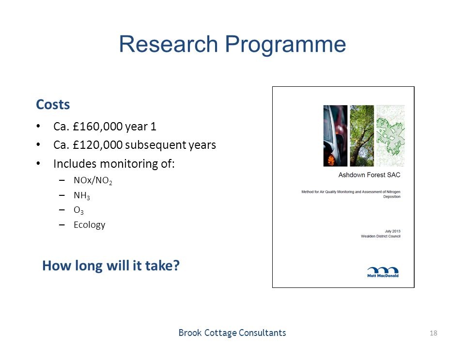Research Programme Costs Ca. £160,000 year 1 Ca. £120,000 subsequent years Includes monitoring of: – NOx/NO 2 – NH 3 – O 3 – Ecology Brook Cottage Con