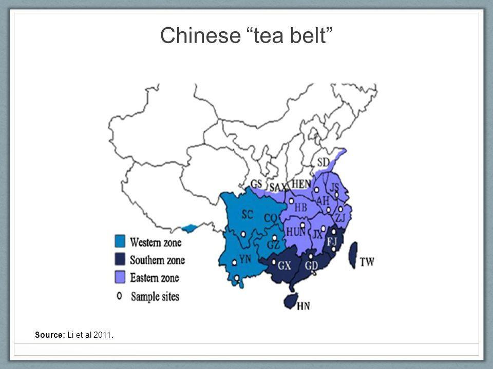 Chinese tea belt Source: Li et al 2011.