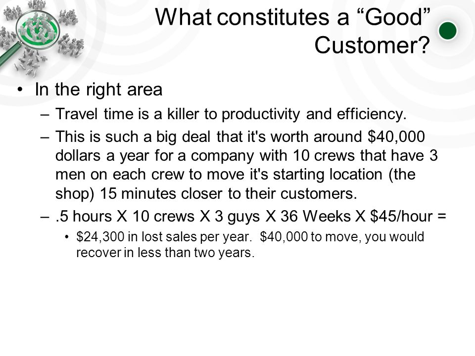 What constitutes a Good Customer.