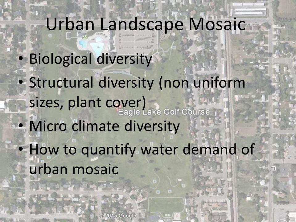 Urban Landscape Mosaic Biological diversity Structural diversity (non uniform sizes, plant cover) Micro climate diversity How to quantify water demand of urban mosaic