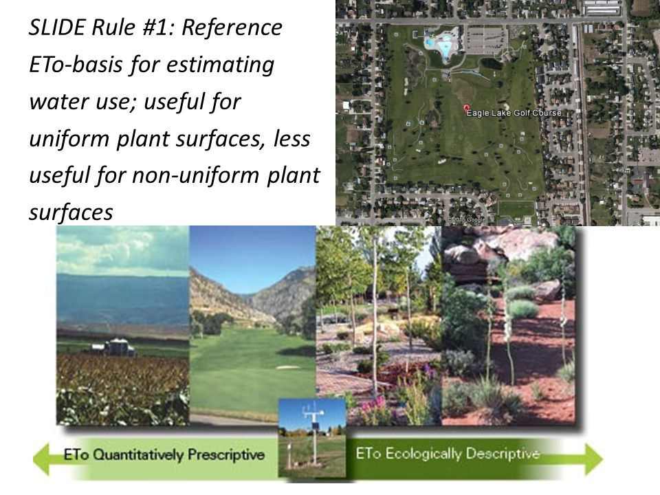 SLIDE Rule #1: Reference ETo-basis for estimating water use; useful for uniform plant surfaces, less useful for non-uniform plant surfaces