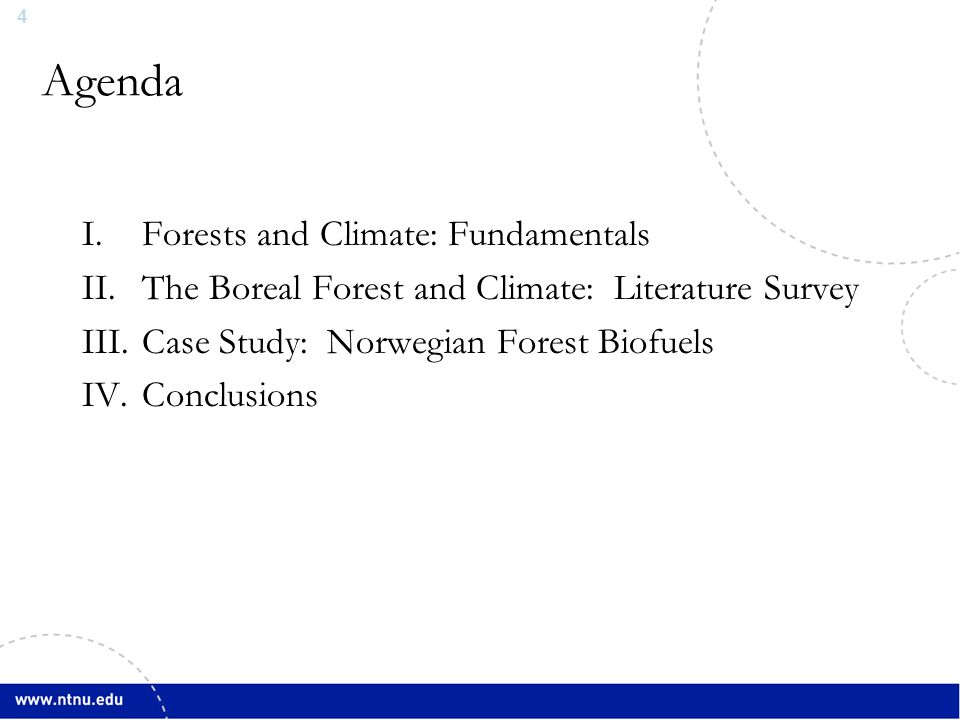 4 Agenda I.Forests and Climate: Fundamentals II.The Boreal Forest and Climate: Literature Survey III.Case Study: Norwegian Forest Biofuels IV.Conclusi