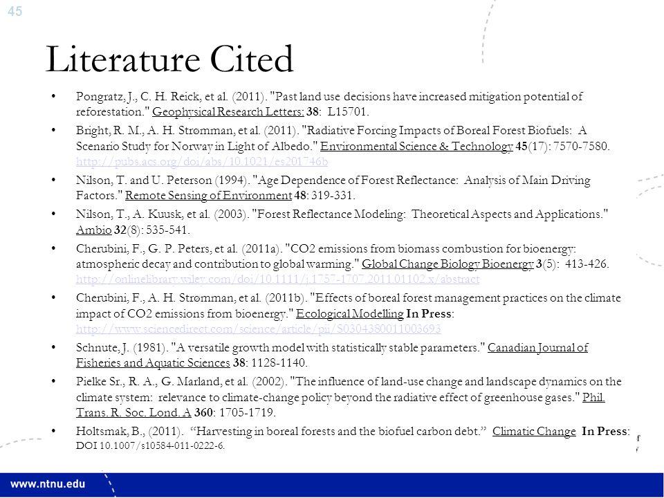 45 Pongratz, J., C. H. Reick, et al. (2011).