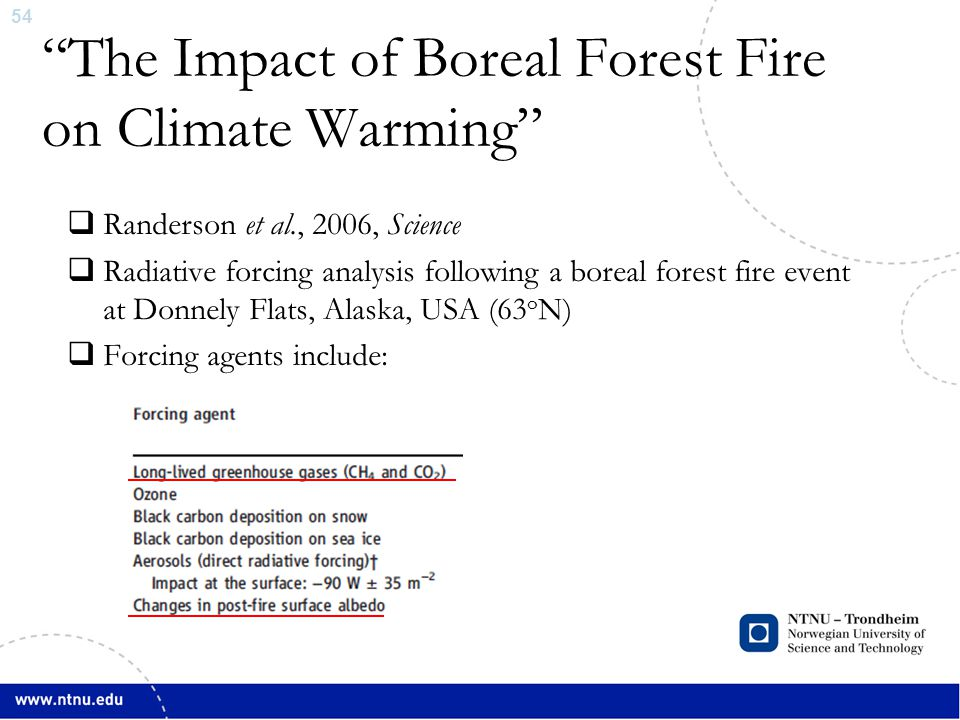 54 The Impact of Boreal Forest Fire on Climate Warming  Randerson et al., 2006, Science  Radiative forcing analysis following a boreal forest fire event at Donnely Flats, Alaska, USA (63 o N)  Forcing agents include: