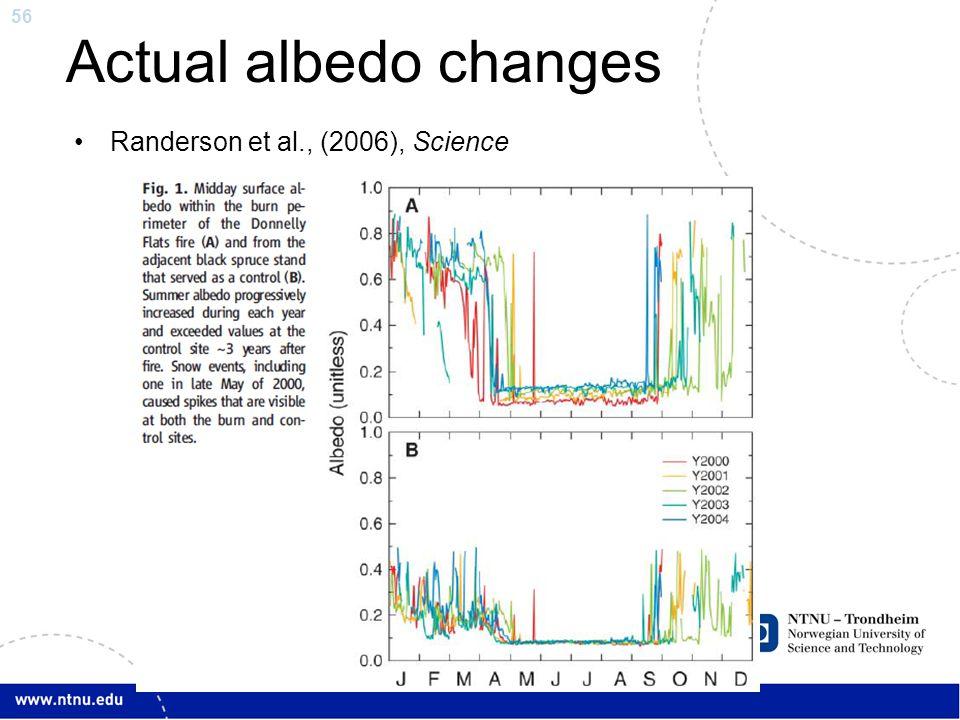 56 Actual albedo changes Randerson et al., (2006), Science