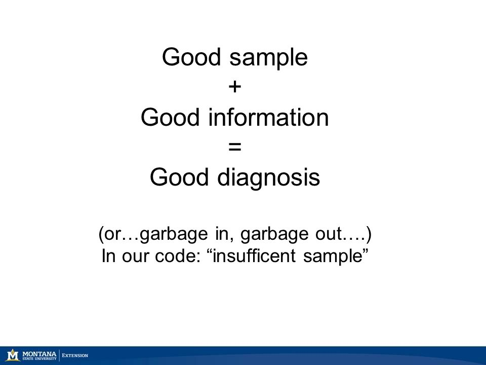 Good sample + Good information = Good diagnosis (or…garbage in, garbage out….) In our code: insufficent sample