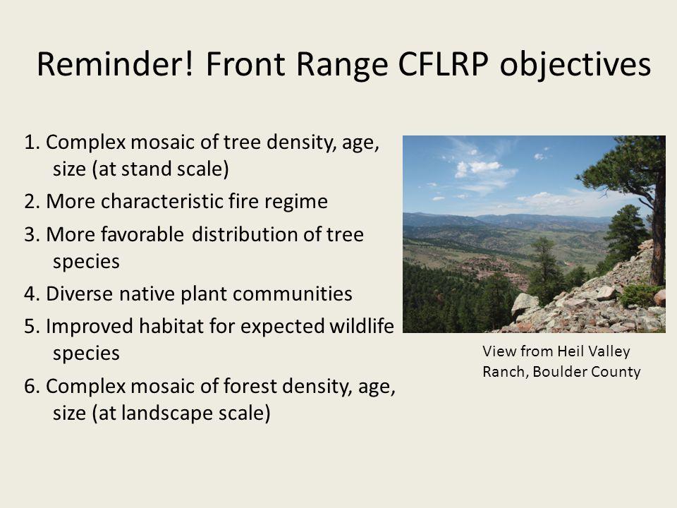 Reminder. Front Range CFLRP objectives 1.