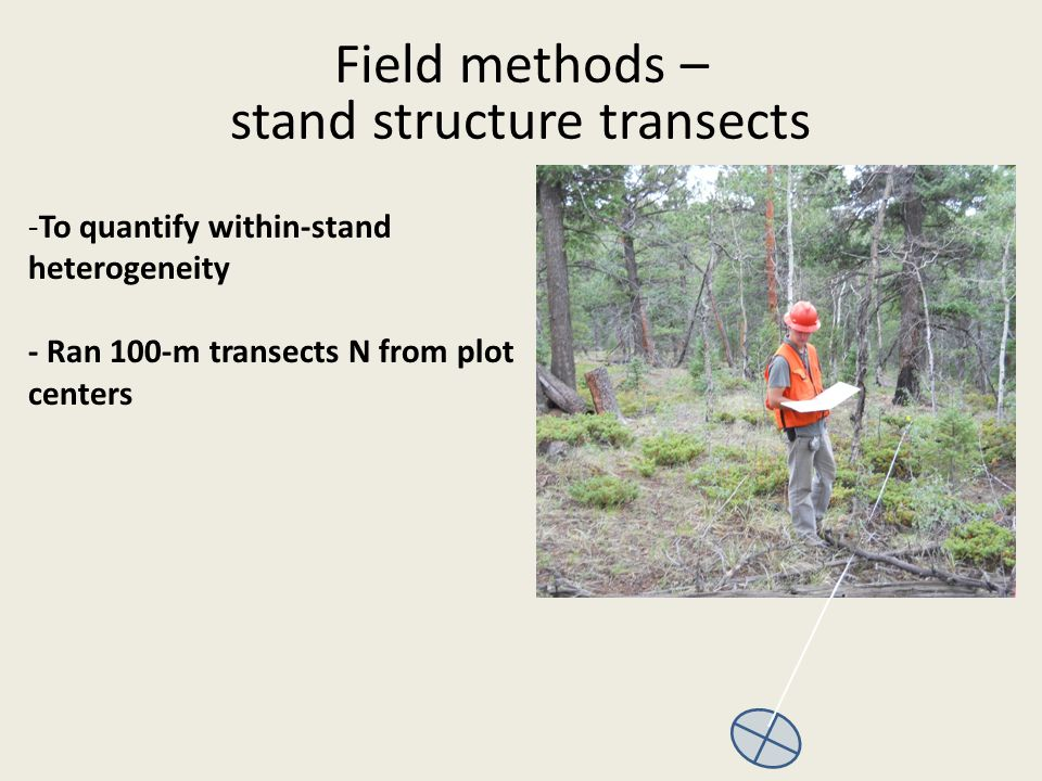 -To quantify within-stand heterogeneity - Ran 100-m transects N from plot centers Field methods – stand structure transects