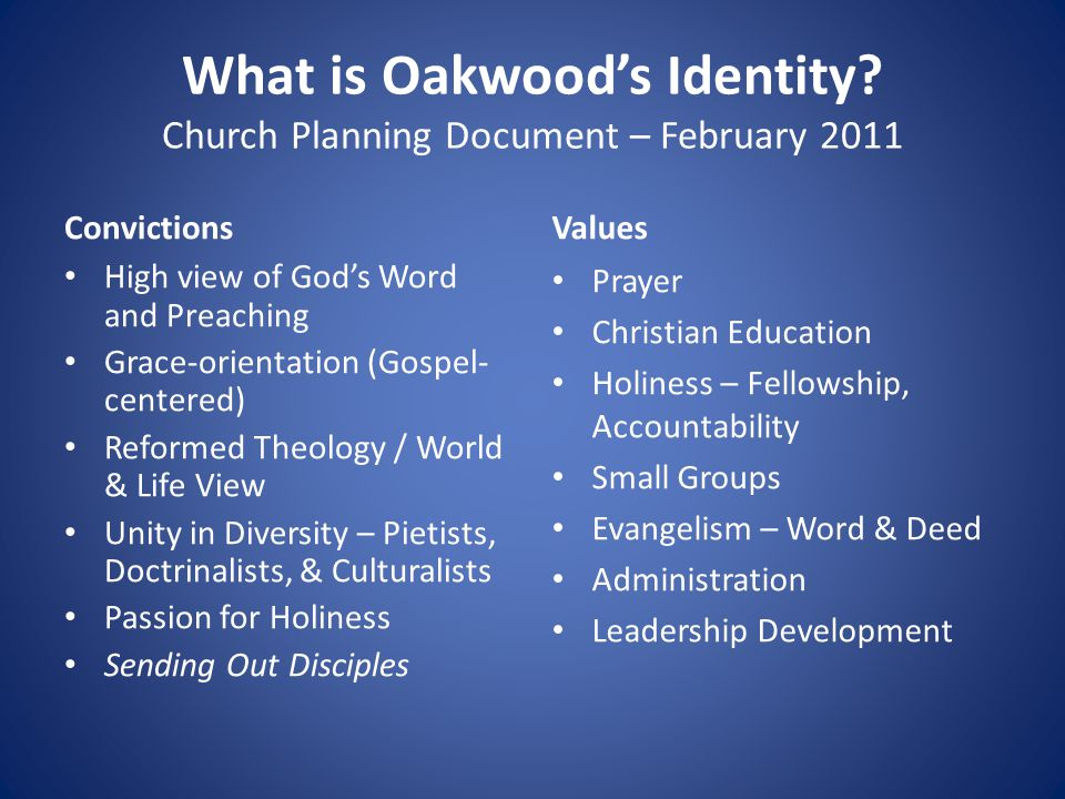 What is Oakwood's Identity.