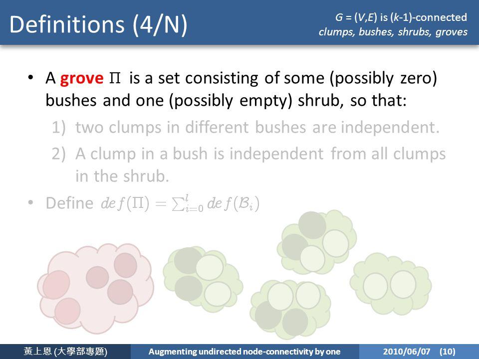 黃上恩 ( 大學部專題 ) Augmenting undirected node-connectivity by one 2010/06/07 (10) Definitions (4/N) A grove is a set consisting of some (possibly zero) bushes and one (possibly empty) shrub, so that: 1)two clumps in different bushes are independent.